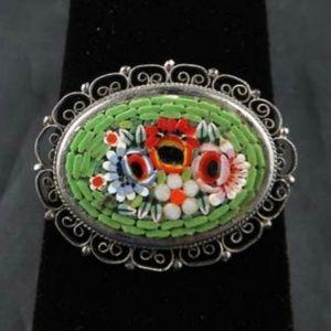 VIntage Italian Millefiori Micro Mosaic Brooch